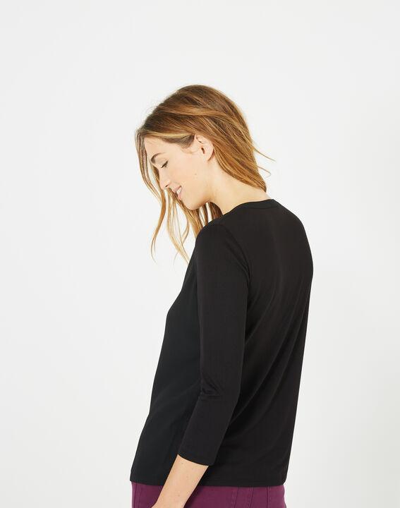 Tee-shirt noir col tunisien manches 3/4 Bianca (5) - 1-2-3