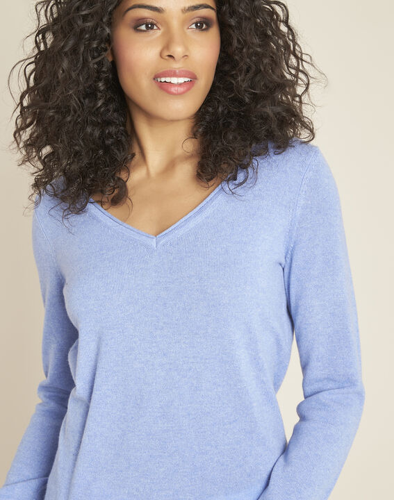 Pivoine blue V-neck sweater in cashmere (3) - 1-2-3