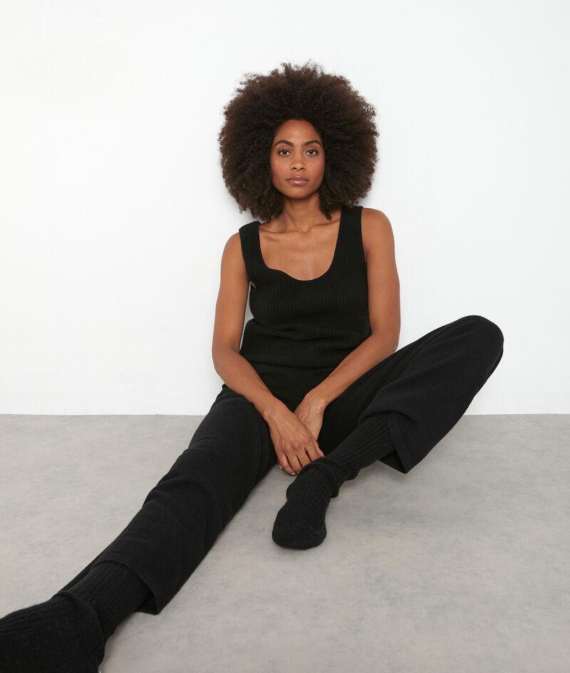 Pantalon large en cachemire recyclé noir Tanis PhotoZ | 1-2-3