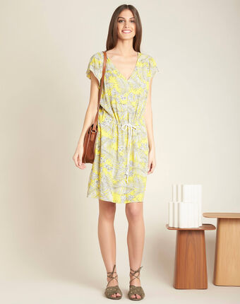 Palma yellow printed dress with tie lemon.