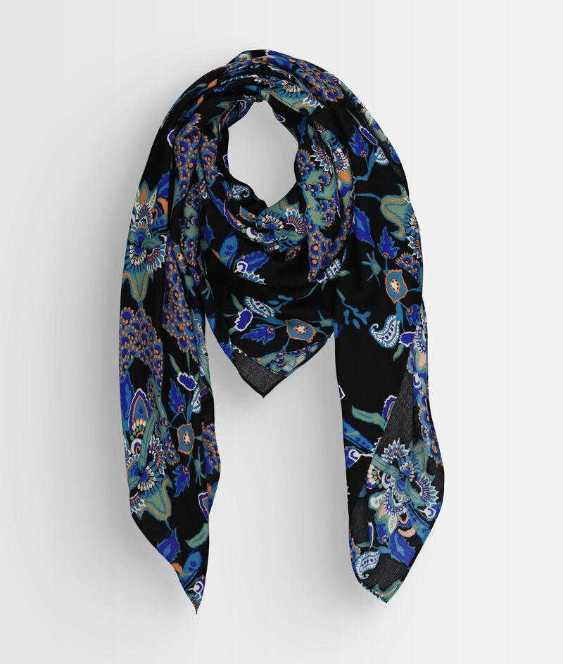 Foulard fluide imprimé bleu et noir Pensee PhotoZ | 1-2-3