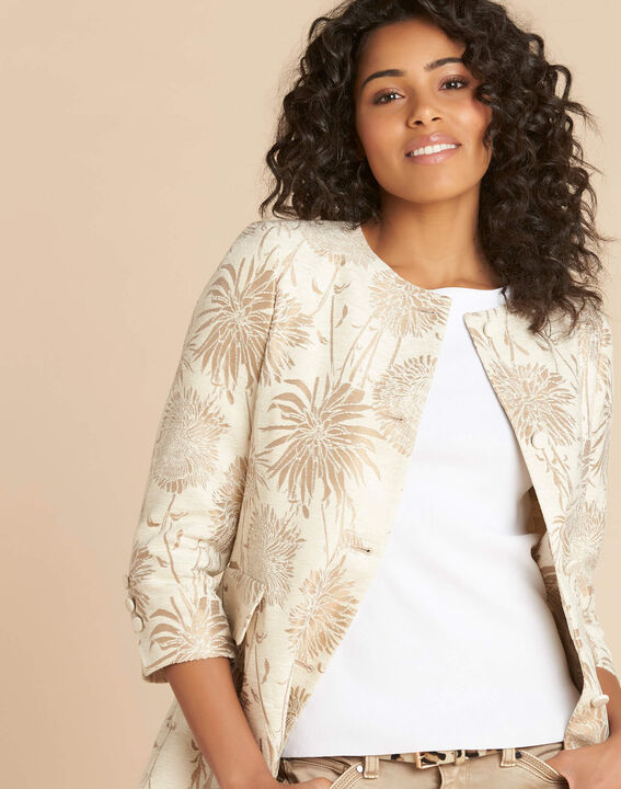 Manteau long à motifs beige Kamelia PhotoZ | 1-2-3