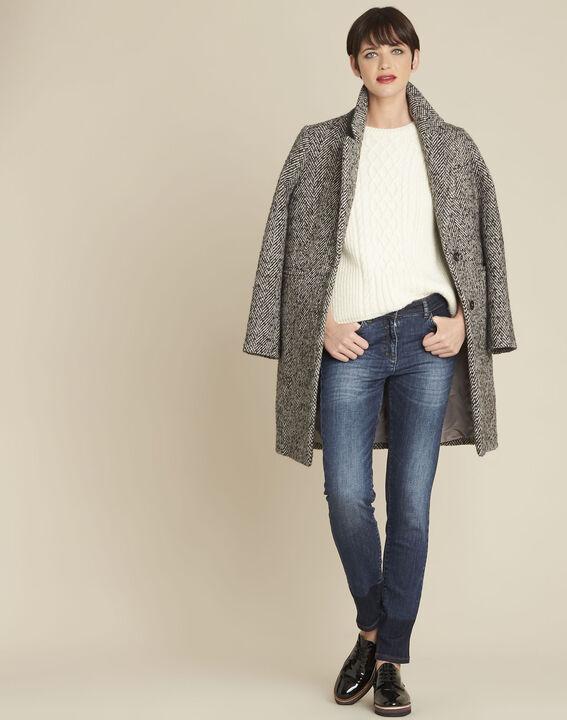 Manteau gris pâle chiné laine mélangée Erwan (2) - 1-2-3