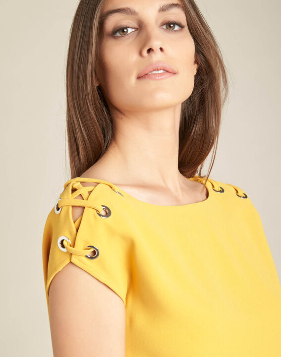 Germina yellow blouse with eyelets and laces PhotoZ | 1-2-3