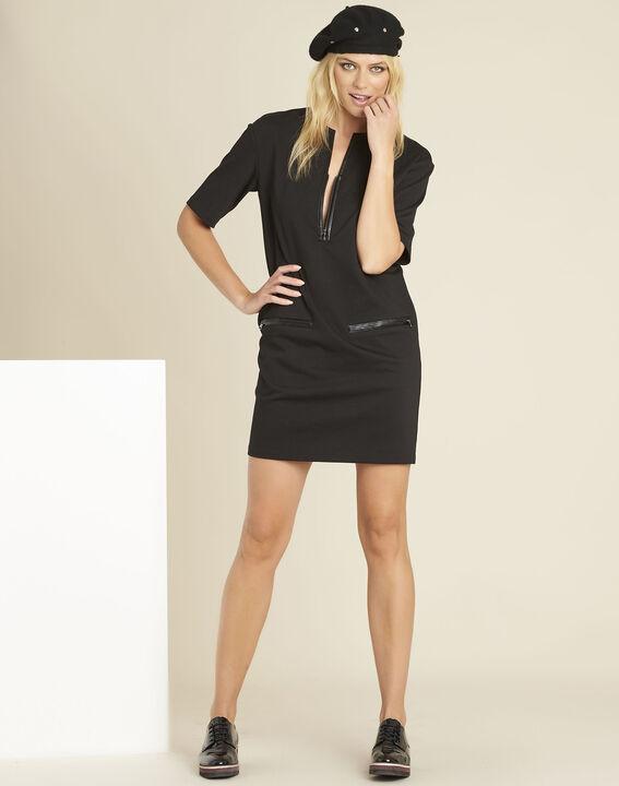 Robe noir milano détails faux cuir Douce (2) - 1-2-3
