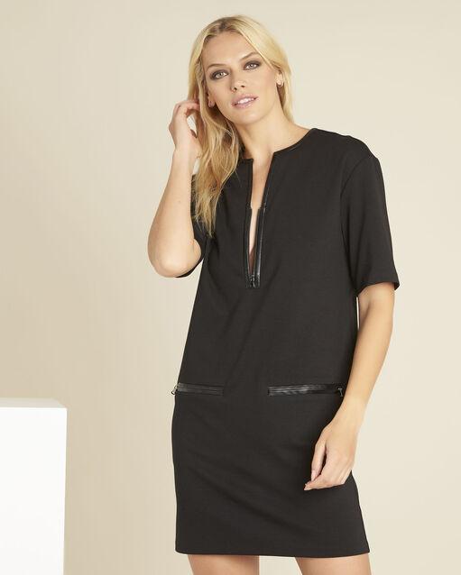 Robe noire milano détails faux cuir Douce (1) - 1-2-3