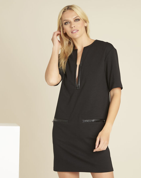 Douce black Milano dress with faux leather details (1) - 1-2-3