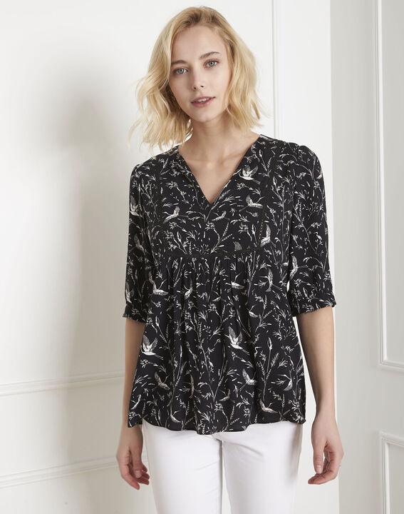 Schwarze Bluse mit Druckmuster Vesuve PhotoZ | 1-2-3