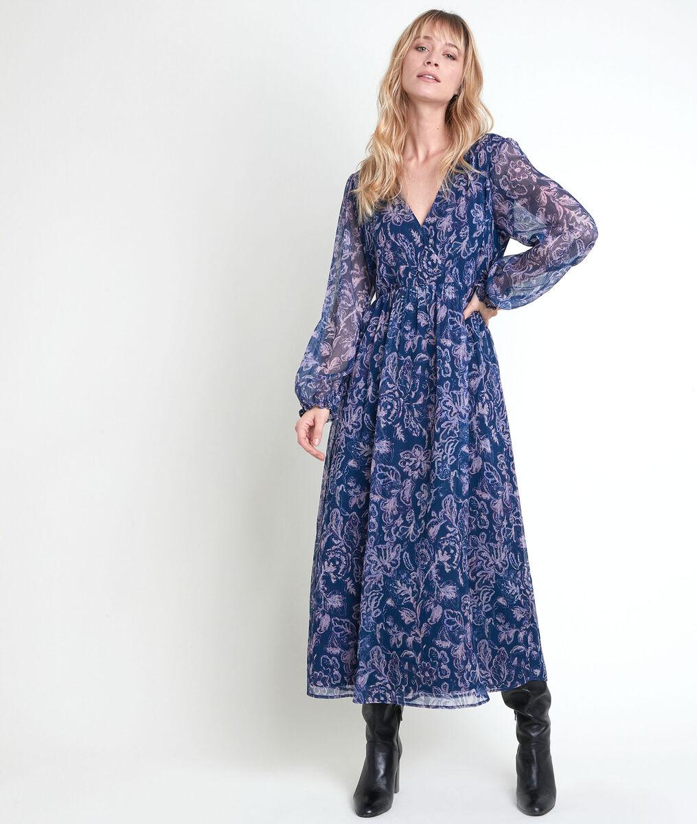 Robe longue bleue imprimée Louise PhotoZ | 1-2-3