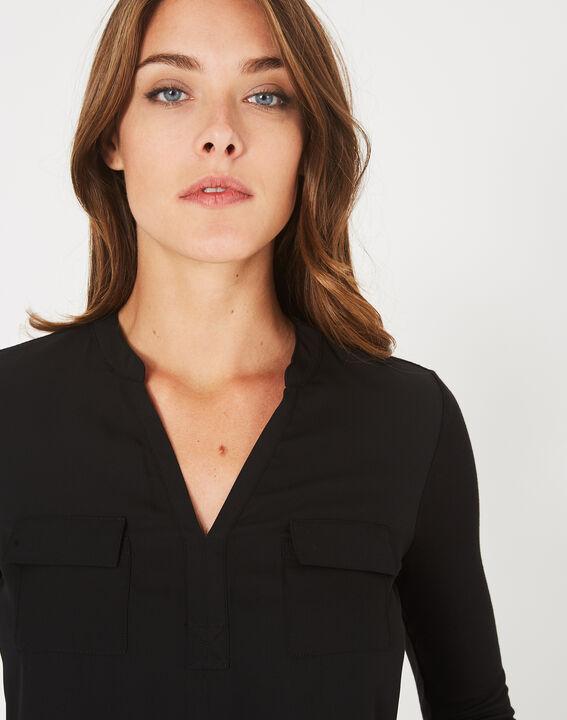 Schwarzes T-Shirt im Materialmix Leden (3) - 1-2-3