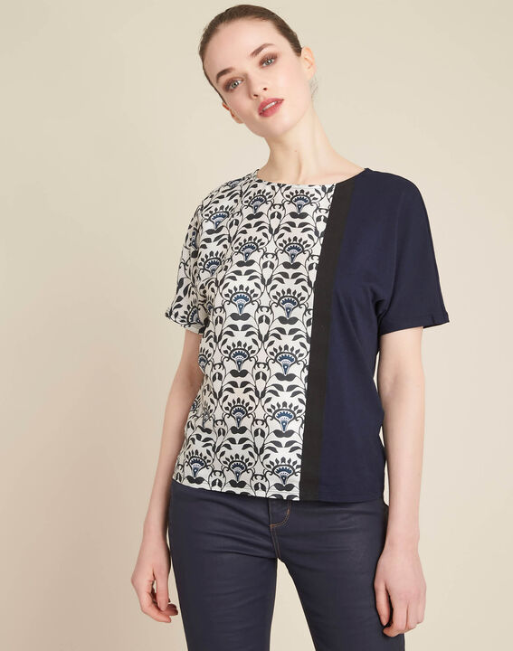Erina navy blue printed T-shirt (3) - 1-2-3