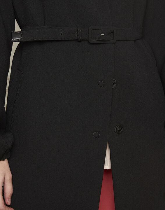 Manteau noir ceinturé manches resserrées Diva (4) - Maison 123