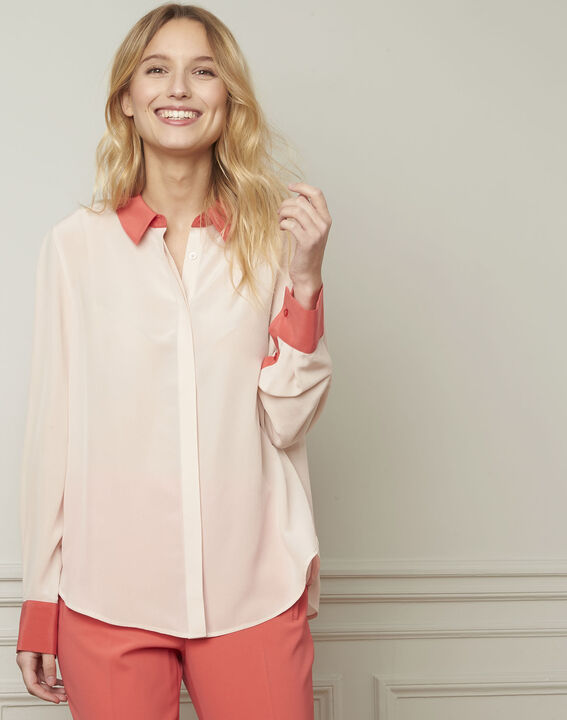 Violene silk powder blouse with contrasting collar and sleeves  (1) - 1-2-3