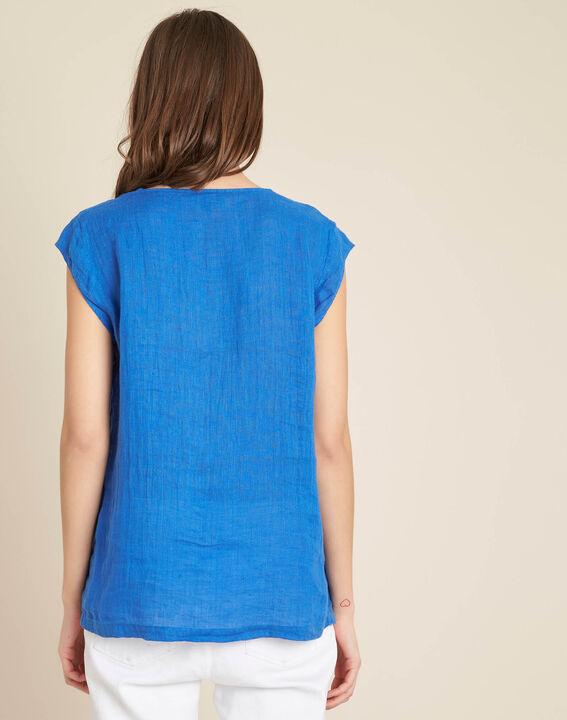 Blaues Leinen-T-Shirt mit Tunika-Kragen Gala (4) - 1-2-3