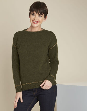 Bindies khaki pullover with gold band detail leaf.