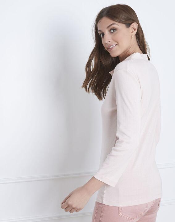 Puderfarbenes T-Shirt V-Ausschnitt aus Lurex Primerose (4) - Maison 123