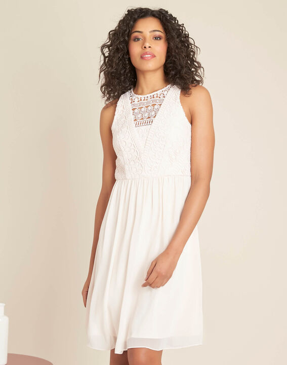 Ibiza pale pink dress with lace at the neckline (3) - 1-2-3