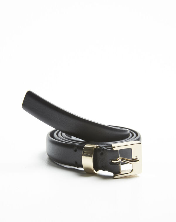 Quentin black leather belt with a gold tone buckle (1) - 1-2-3