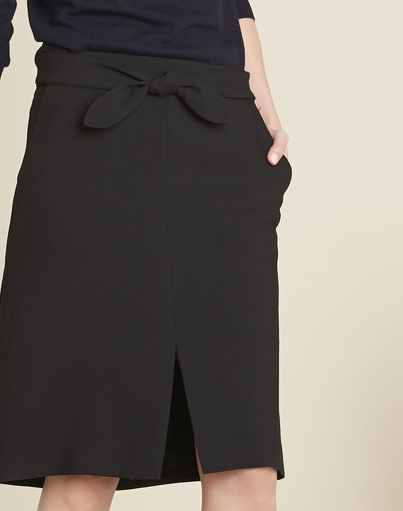 Agathe black skirt with knot and slit (3) - 1-2-3