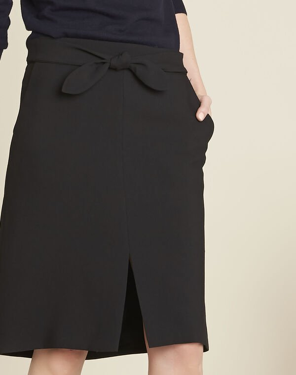 Agathe black skirt with knot and slit (2) - 1-2-3