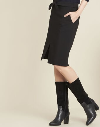 Agathe black skirt with knot and slit black.