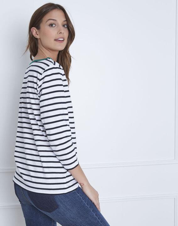 Weißes T-Shirt mit Streifen message Paraiso (4) - Maison 123