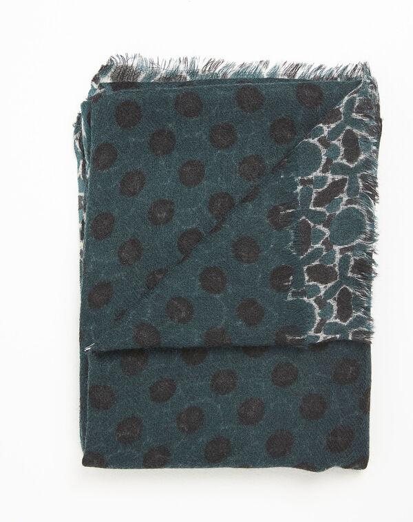 Foulard vert foncé imprimé en laine Fan (1) - 1-2-3