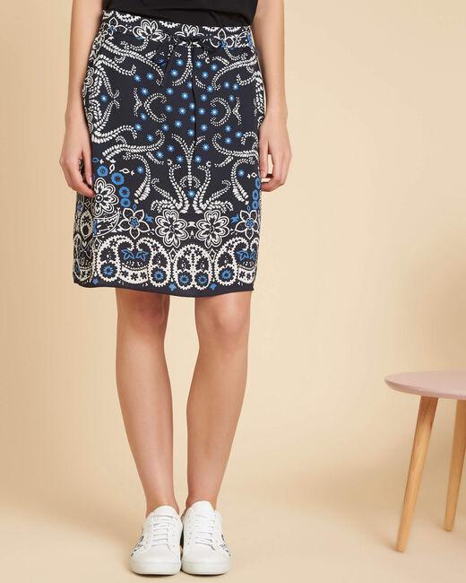 Luna navy printed skirt with tie (2) - 1-2-3