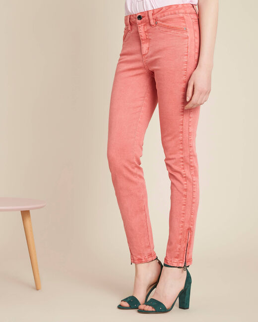 Opera slim-cut coral jeans with ankle zips (2) - 1-2-3