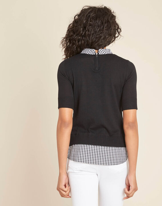 Noella black sweater with contrasting shirt collar (4) - 1-2-3