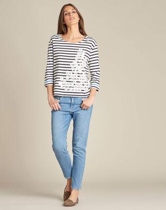 Streifen-t-shirt mit print und 3/4-ärmeln emerine marineblau.