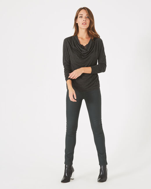 Tee-shirt gris chiné à col bénitier et dentelle Ballet (1) - 1-2-3