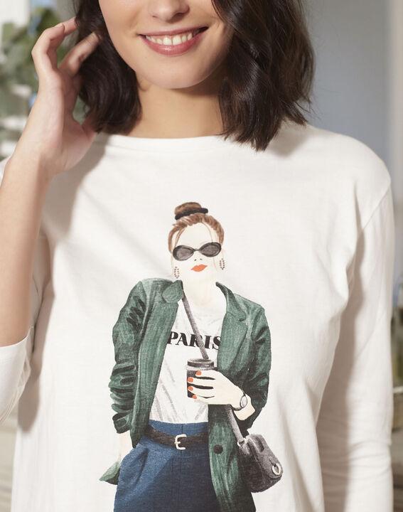 Gloria ecru printed T-shirt (3) - 1-2-3