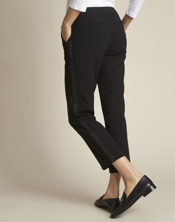 Pantalon noir et sa bande latérale microfibre Suzanne (4) - 1-2-3