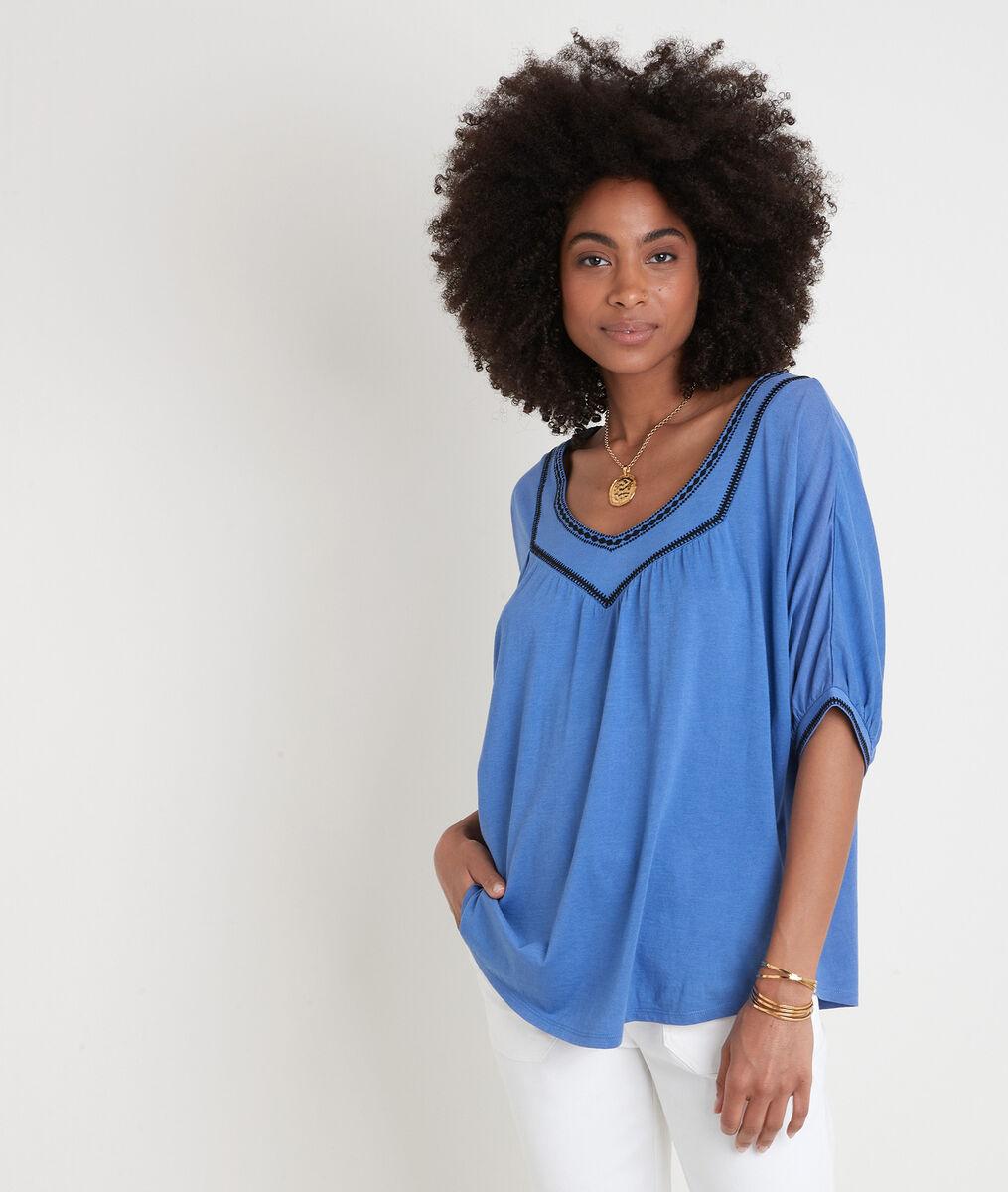 Loose blauw T-shirt met borduurwerk Eglantine PhotoZ | 1-2-3
