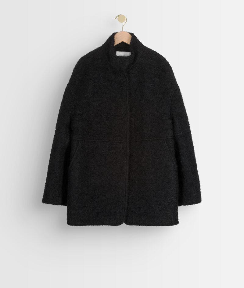 Manteau court en laine texturée noire Lamia PhotoZ   1-2-3