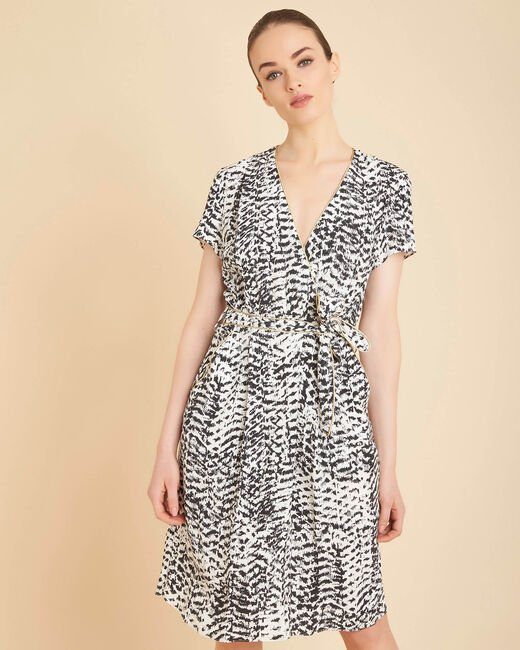 Panthere black and white printed dress (2) - 1-2-3