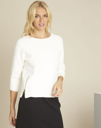 Boris ecru ottoman pullover with side zips cream.