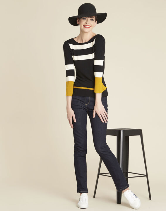 Bins black striped sweater with pagoda sleeves (3) - 1-2-3