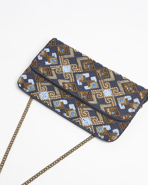 Irma blue clutch bag with golden beads (2) - 1-2-3