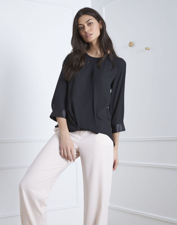 Valeria black blouse with satin-effect details (1) - 1-2-3