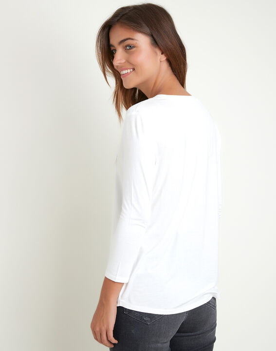 Ecru T-shirt uit twee materialen met Tunesische kraag Genna (4) - 37653