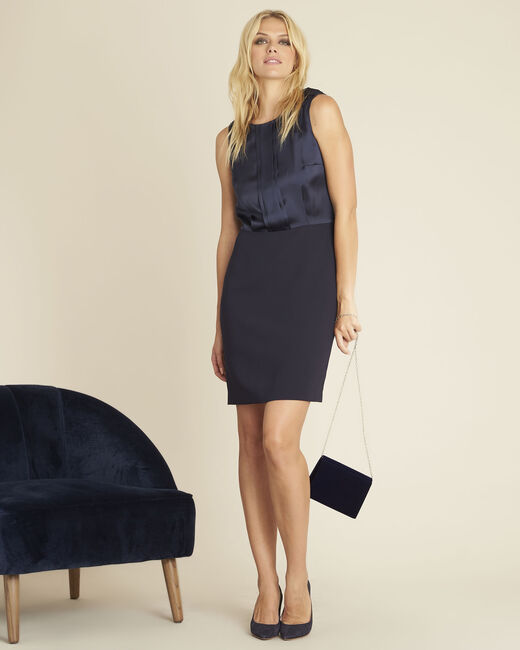 Djen navy blue dual-fabric dress with jewelled shoulders (1) - 1-2-3
