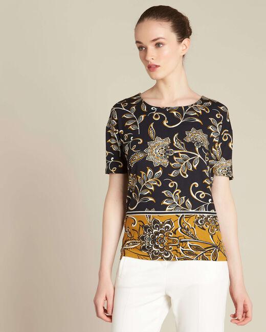 Schwarzes T-Shirt mit Halstuch-Print Encens (2) - 1-2-3