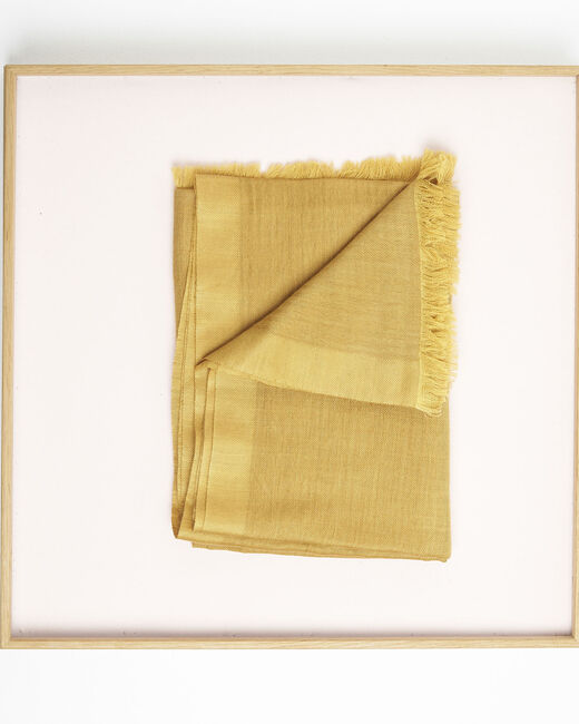 Foulard ocre à franges en laine et modal Farandole (1) - 1-2-3