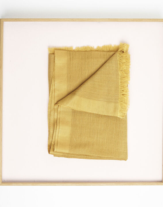 Farandole ochre wool and modal fringed scarf  (3) - 1-2-3