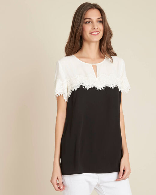 Goji black and white lace T-shirt  (2) - 1-2-3