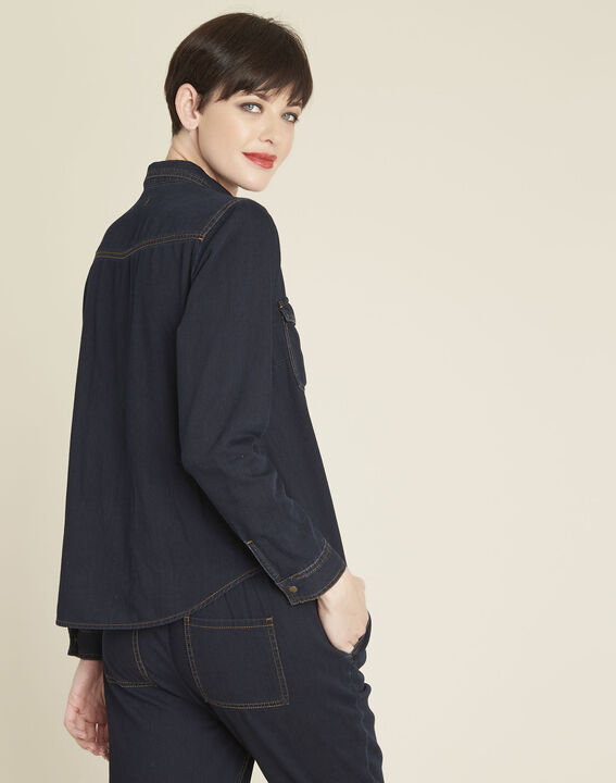 Cassis navy denim blouse (4) - 1-2-3