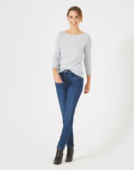 Petunia light blue, cashmere sweater with round neck PhotoZ | 1-2-3