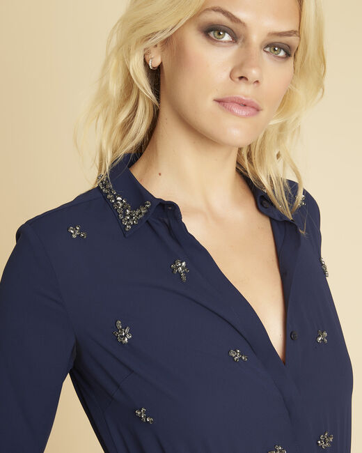 Nora navy blue dual-fabric dress with jewelled detailing (1) - 1-2-3